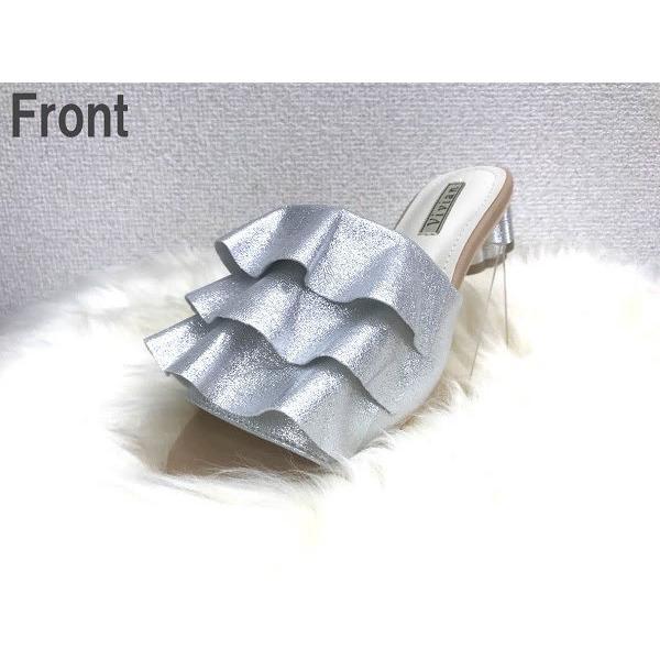 送料無料 キラキラフリルヒールミュール デザインヒール 太ヒール チャンキーヒール グリッター ラメ サンダル つっかけ かかとなし 靴 レディース オトナ女子