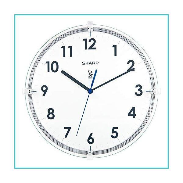 シャープアトミックアナログ壁掛け時計-10.5インチ吊り下げガラス面電波時計-自動設定-読みや