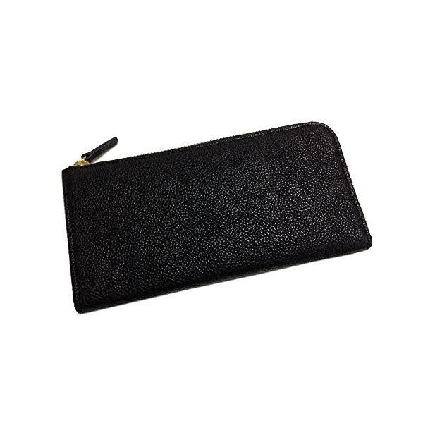 ヌメ革 L型ファスナー長財布 (外ファスナーポケット付) (ブラック)