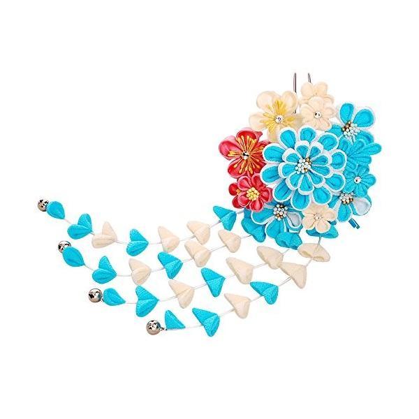 つまみ細工 髪飾り 918314b ブルー 青色 シルク ちりめん 成人式 七五三 浴衣 卒業式 結婚式 簪 髪かざり ゆかた 浴衣 通販