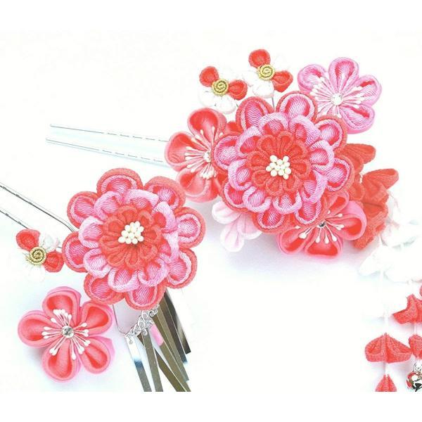 髪飾り2点セットwk-047 つまみ細工 ピンク色 (成人式 卒業式 結婚式 和装)