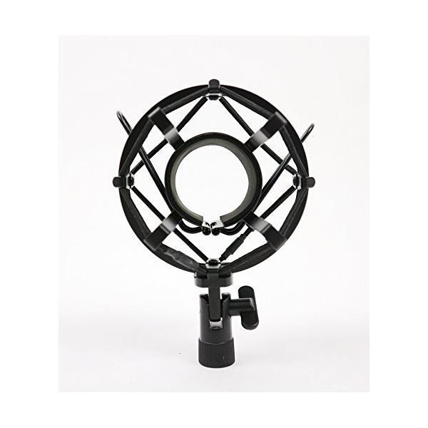 ショックマウント サスペンションホルダー 振動防止 48mm-54mmに対応 (ブラック)