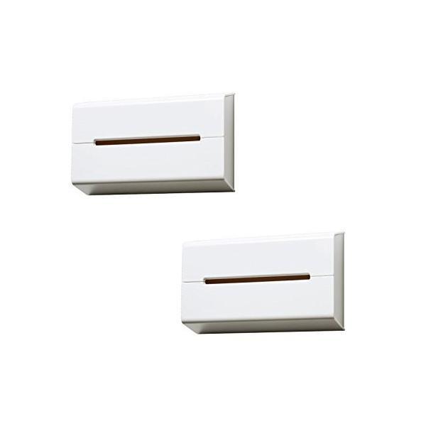 イデアコ ティッシュケース 壁に貼って使えるウォール ホワイト2個セット keihouse