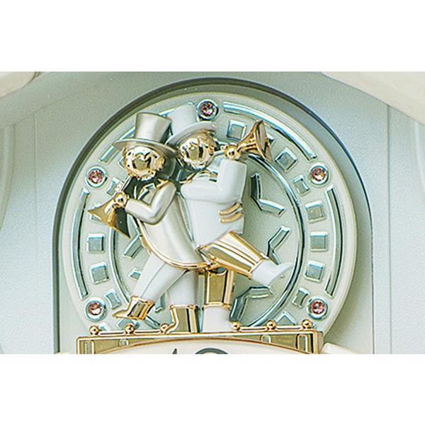 セイコー クロック 掛け時計 電波 アナログ からくり トリプルセレクション メロディ 回転飾り アイボリーマーブル 模様 RE576A S