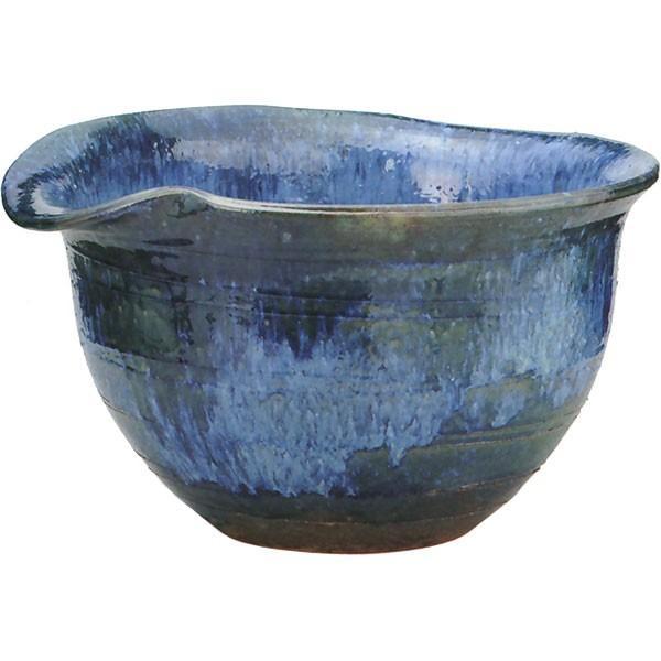 日本製 水鉢 青ガラス片口 17号 全高30cm×幅51cm 信楽焼き しがらきやき 陶器製 睡蓮鉢 水蓮鉢 スイレン鉢 ハイドロカルチャー ビオトープ