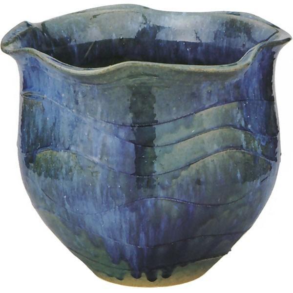日本製 水鉢 青ガラス波口 11.5号 全高30cm×幅35cm 信楽焼き しがらきやき 陶器製 睡蓮鉢 水蓮鉢 スイレン鉢 ハイドロカルチャー ビオトープ