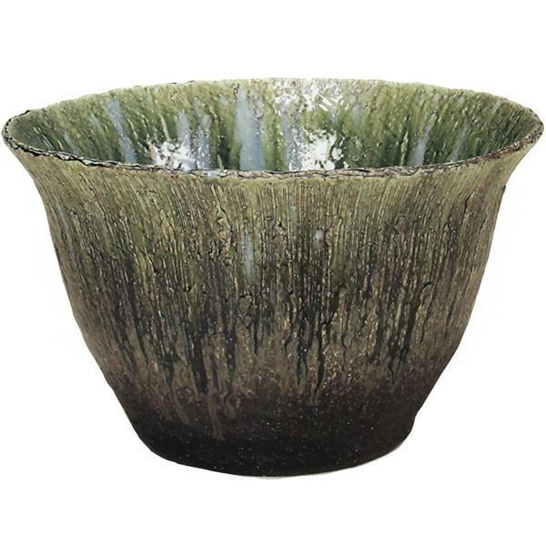 日本製 水鉢 緑ガラス 20号 全高37cm×幅61cm 信楽焼き しがらきやき 陶器製 睡蓮鉢 水蓮鉢 スイレン鉢 ハイドロカルチャー ビオトープ