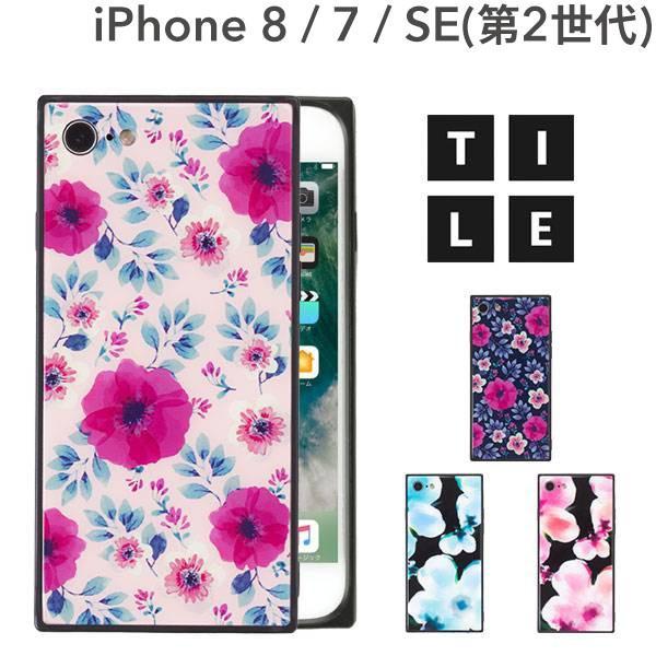 iphone8 iphone7 ケース スクエア 型 TILE タイル ボタニカルフラワー 花柄 EYLE|keitai