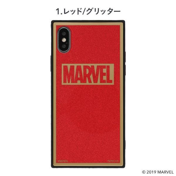 マーベル MARVEL スマホケース iPhoneXS  iPhoneX ケース iPhoneケース マーベル グッズ ロゴ TILE スクエア グリッター|keitai|02