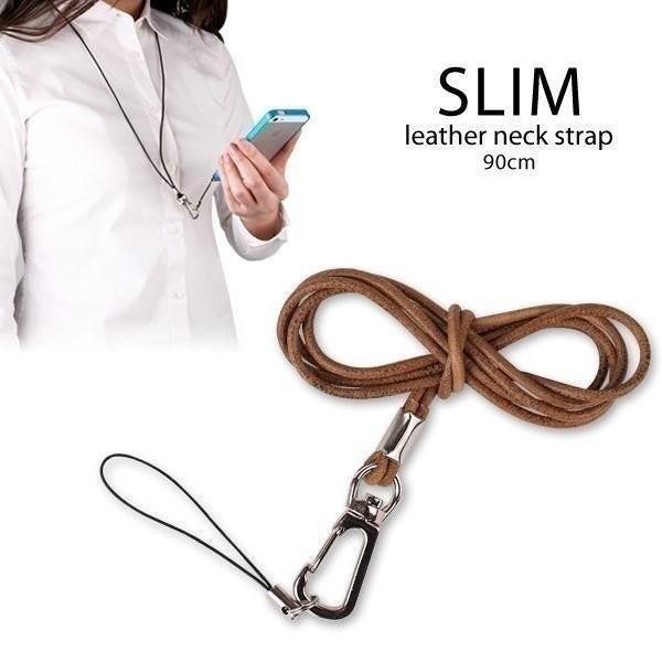 SLIM ネックストラップ 携帯 本革 レザー 革 モバイル 落下防止 携帯ストラップ 首掛け ブランド / ナチュラル Hamee