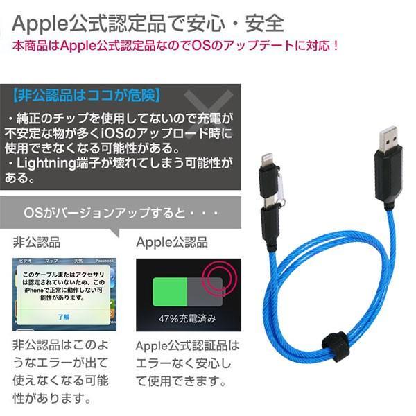 光る lightning ケーブル MFi取得品 2WAY イルミネーションケーブル microUSB コネクタ + Lightning 変換アダプタ ブルー iphone|keitai|04