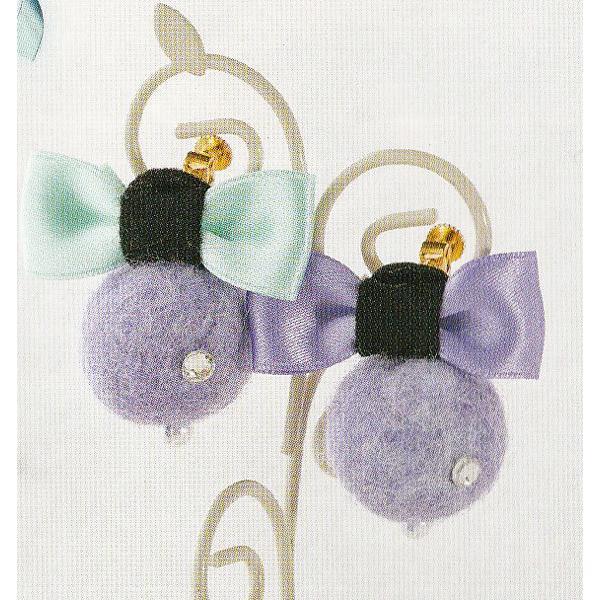 キット 羊毛ボールのイヤリング KSK-11【KY】 サンフェルト 子供手芸キット
