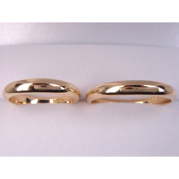 18金マリッジリング結婚指輪 シンプル甲丸ペアリング2本セット
