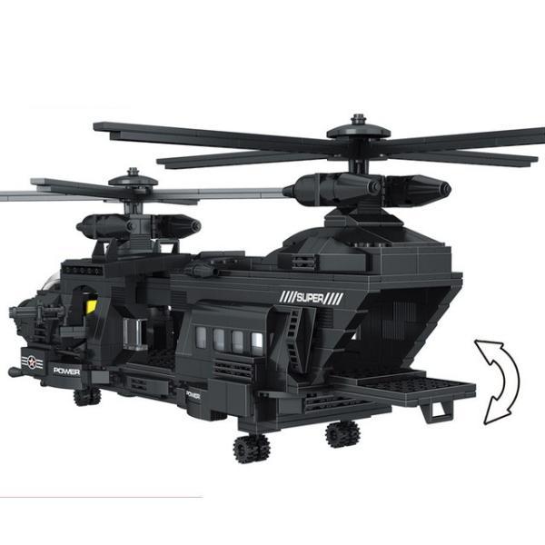 レゴ互換 swat スワットチーム チーム輸送ヘリコプター 軍事都市警察官 ヘリ ブロック 1351ピース|kenji1980-store|05