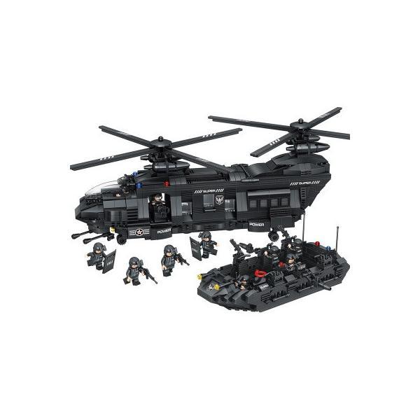 レゴ互換 swat スワットチーム チーム輸送ヘリコプター 軍事都市警察官 ヘリ ブロック 1351ピース|kenji1980-store|06
