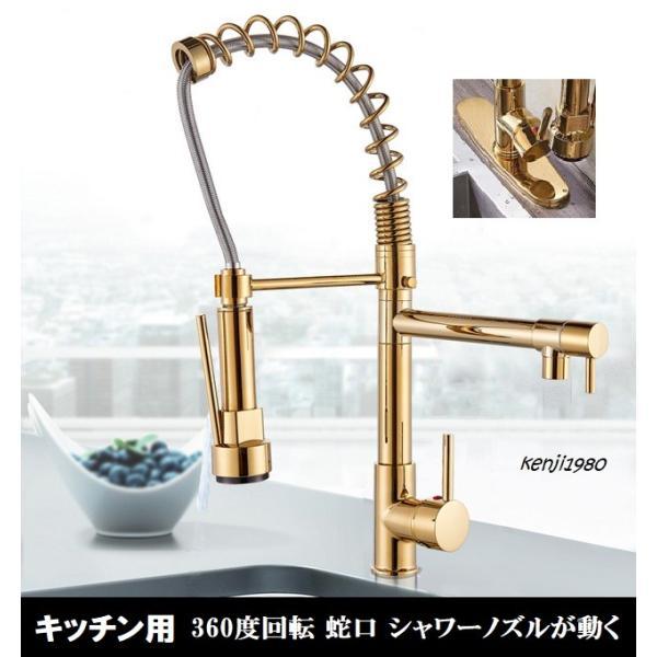 蛇口 キッチン シャワー 混合水栓 交換 ノズル シャワーノズルが動く シャワーヘッド おしゃれ ゴールド プレート付 kenji1980-store