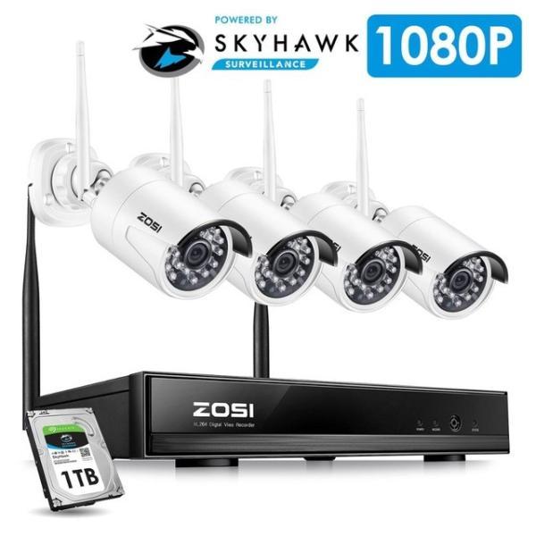 ZOSI 220万画素 1080 1TB 防犯カメラ セット ワイヤレスカメラ 4台 無線接続 配線不要 防水仕様 暗視対|kenji1980-store