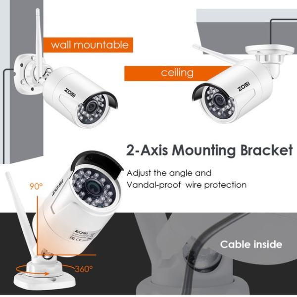 ZOSI 220万画素 1080 1TB 防犯カメラ セット ワイヤレスカメラ 4台 無線接続 配線不要 防水仕様 暗視対|kenji1980-store|03