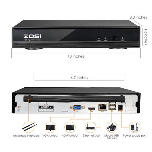 ZOSI 220万画素 1080 1TB 防犯カメラ セット ワイヤレスカメラ 4台 無線接続 配線不要 防水仕様 暗視対|kenji1980-store|05