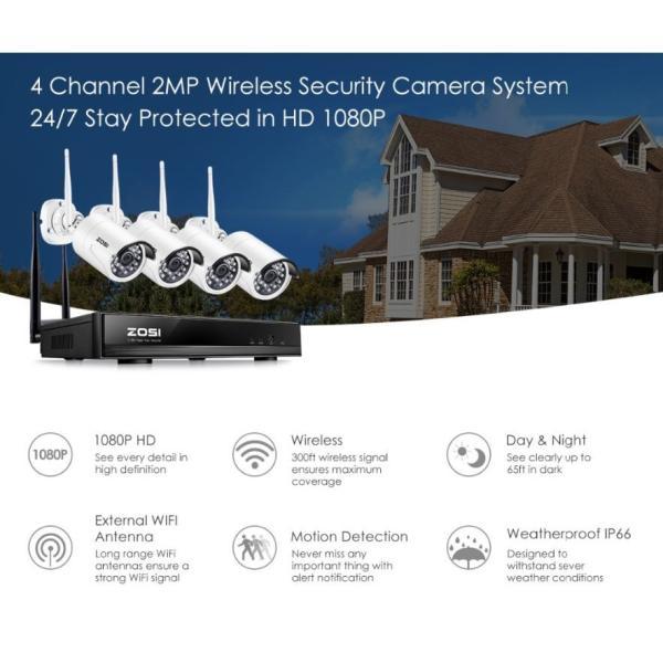 ZOSI 220万画素 1080 1TB 防犯カメラ セット ワイヤレスカメラ 4台 無線接続 配線不要 防水仕様 暗視対|kenji1980-store|08