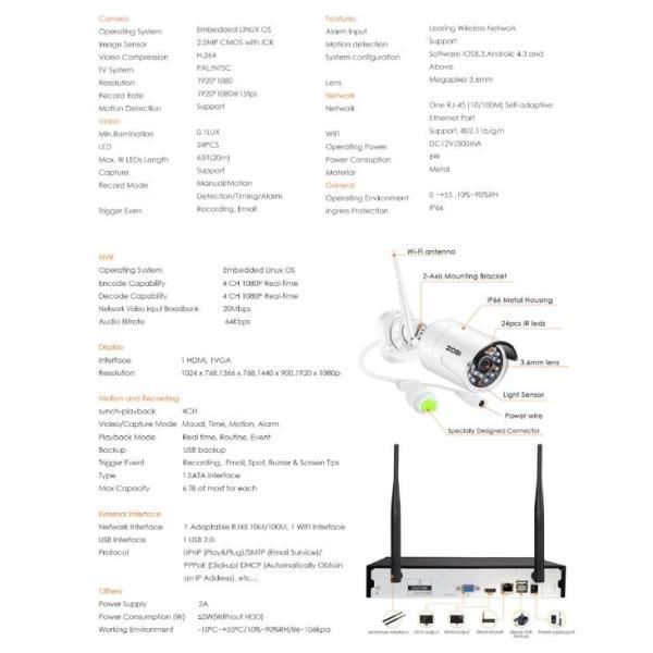 ZOSI 220万画素 1080 1TB 防犯カメラ セット ワイヤレスカメラ 4台 無線接続 配線不要 防水仕様 暗視対|kenji1980-store|09
