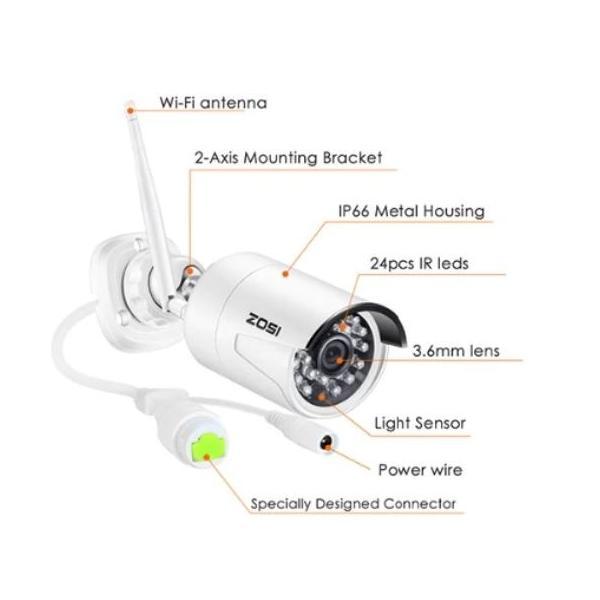 ZOSI 220万画素 1080 1TB 防犯カメラ セット ワイヤレスカメラ 4台 無線接続 配線不要 防水仕様 暗視対|kenji1980-store|10