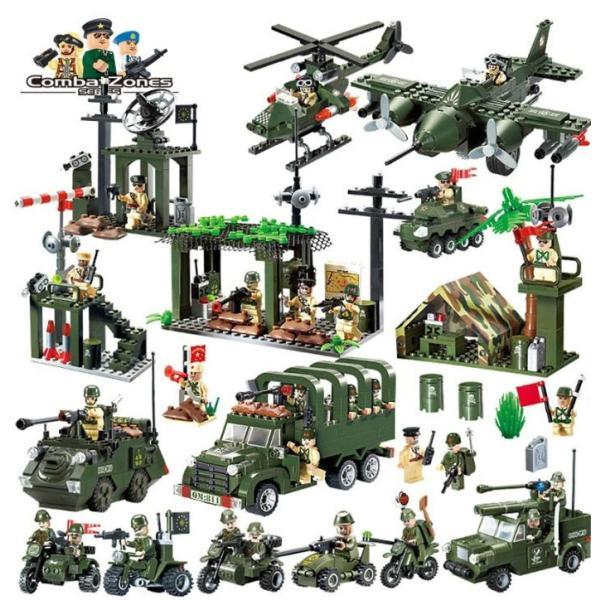 レゴ互換 ブロック 軍隊 軍事基地 ヘリコプター 武器 戦闘 戦車 ミリタリー 兵士27体 Lego 1281ピース|kenji1980-store|02