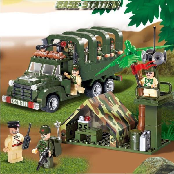 レゴ互換 ブロック 軍隊 軍事基地 ヘリコプター 武器 戦闘 戦車 ミリタリー 兵士27体 Lego 1281ピース|kenji1980-store|07