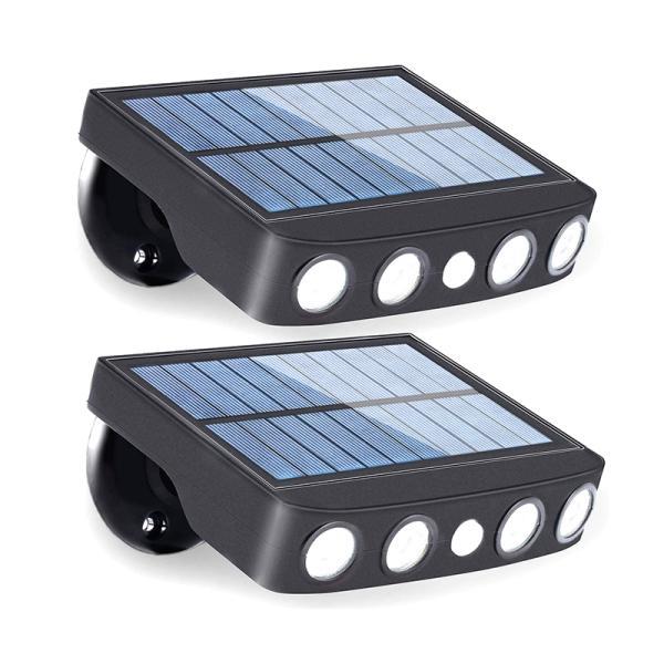 センサーライト 屋外 高輝度 大出力LED 4個 三つ点灯モード 人感センサー ソーラーライト 太陽光発電 省エネ 防水 防犯ライト 自動点灯 停電対策 2個セット