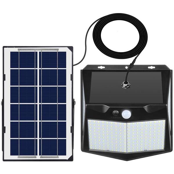 240LED 4面発光 分離型 ソーラーライト 人感センサー 3つ点灯モード 超明るい センサーライト 5m延長コード IP65防水 防犯・防災 白光 屋外
