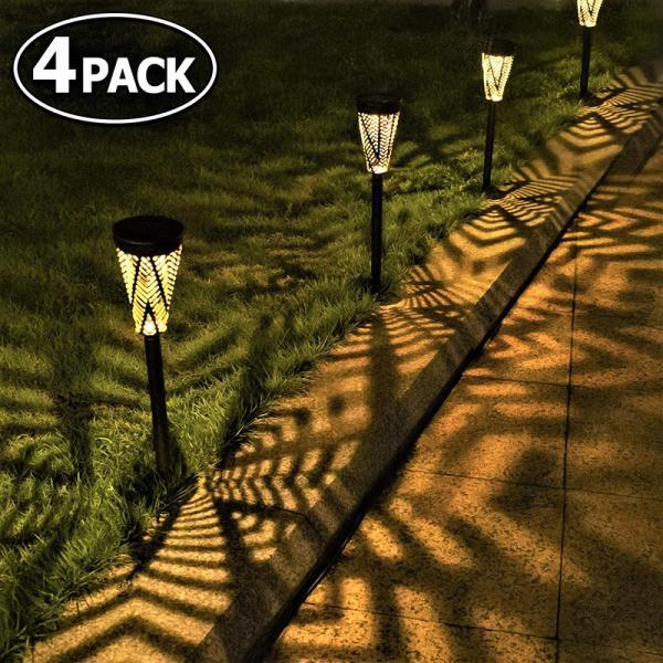 ソーラーライト 4個セット 屋外 埋め込み式 防水 暖色系 LED ガーデン 玄関 階段 足元 道 壁 芝生 光センサー 夜間自動点灯 太陽光発電 常夜灯 おしゃれ 和風