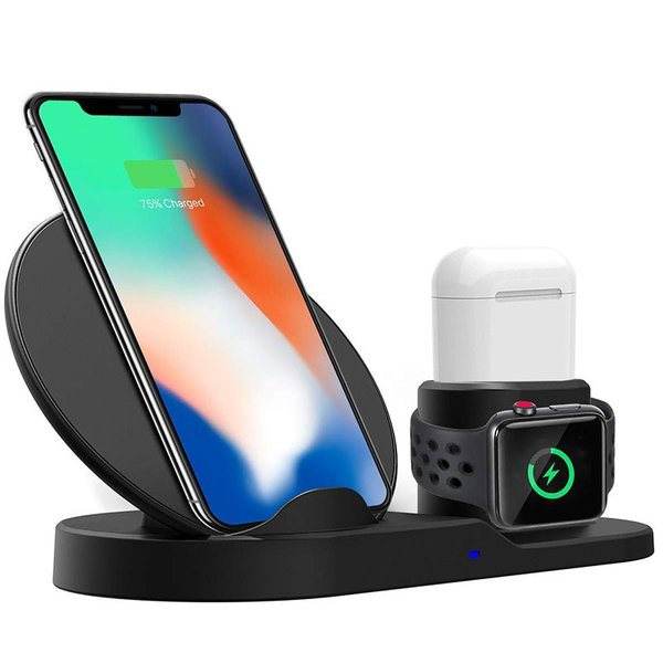 Qi 急速ワイヤレス充電器 3 in 1充電スタンドfor iPhone/for Apple用 Watch/Airpods充電器for iPhone X/XS/ XR/XS Max spddm|kenkenanto