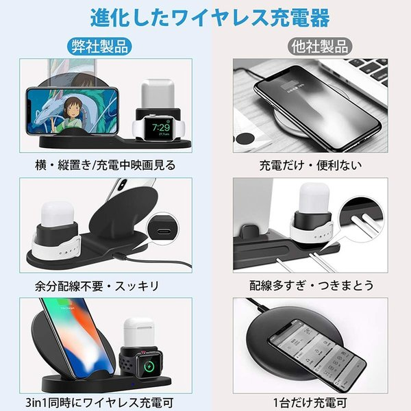 Qi 急速ワイヤレス充電器 3 in 1充電スタンドfor iPhone/for Apple用 Watch/Airpods充電器for iPhone X/XS/ XR/XS Max spddm|kenkenanto|04
