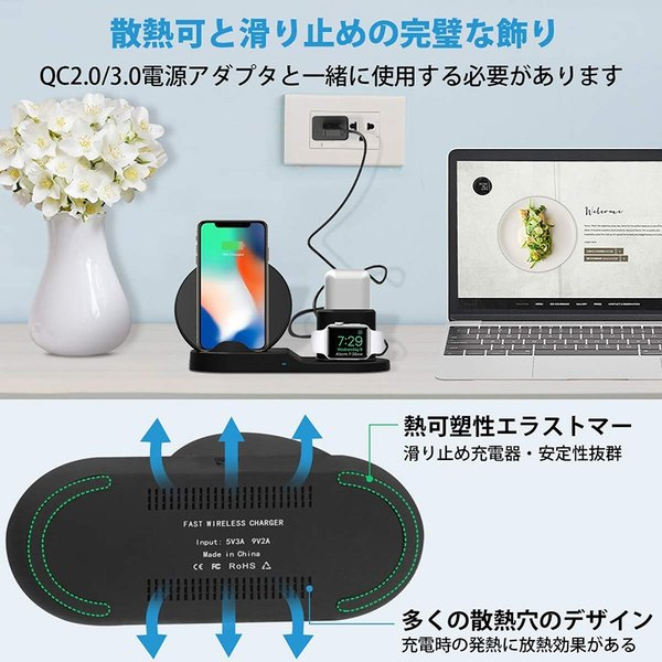 Qi 急速ワイヤレス充電器 3 in 1充電スタンドfor iPhone/for Apple用 Watch/Airpods充電器for iPhone X/XS/ XR/XS Max spddm|kenkenanto|07