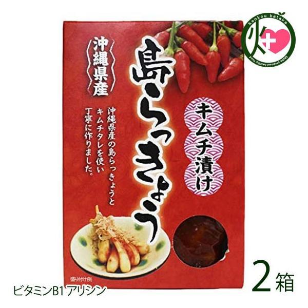 沖縄県産 島らっきょう キムチ漬け 140g×2箱 沖縄県産の島らっきょうをキムチタレを使い丁寧につくりました お酒のおつまみに  送料無料