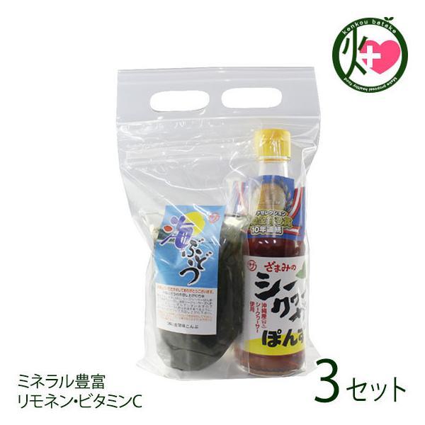 塩水海ぶどう70g ぽんず250ml×3セット 座間味こんぶ 沖縄 人気 土産 お取り寄せ 海藻 調味料 詰め合わせ ミネラル豊富 リモネン・ビタミンC 送料無料