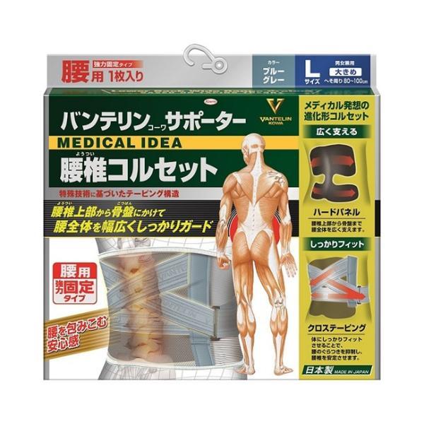 バンテリンサポーター腰椎コルセット大きめサイズLサイズへそ周り80〜100cmブルーグレー(男女兼用)