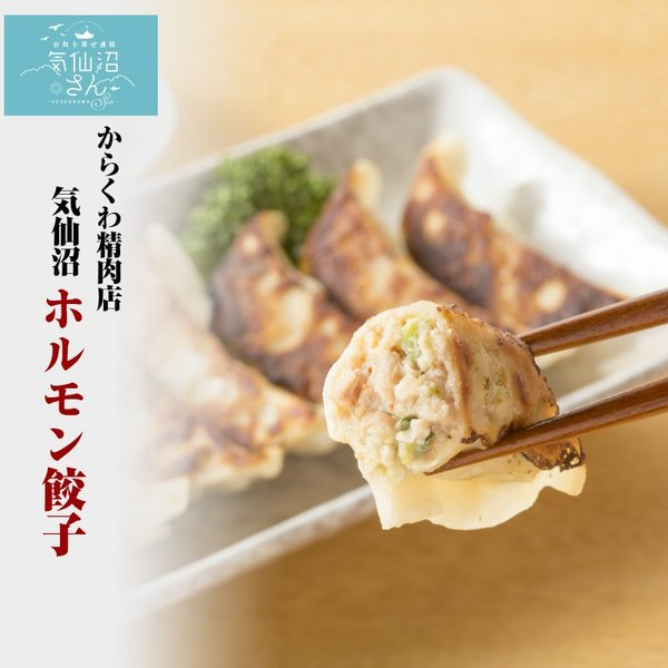 気仙沼ホルモン餃子 【からくわ】 (8個×2パック) 豚ホルモン 赤 白 モツ 焼き肉 鍋 レシピ 作り方 お取り寄せ|kesennuma-san