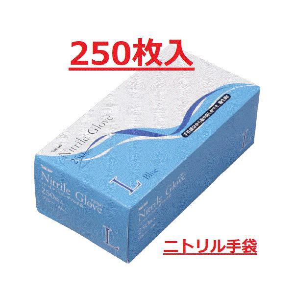 ニトリル使い切り手袋 粉無 ブルー 250枚入 S,M、L 川西工業2060 食品衛生法適合