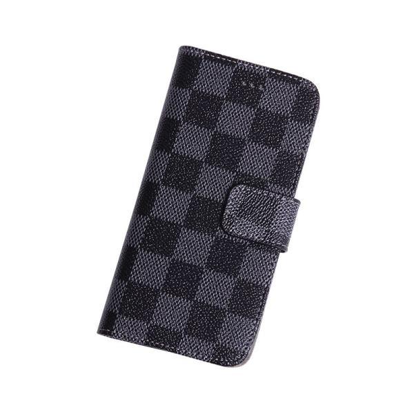 46359b9d25 iPhone6 ケース 手帳型 ブランド チェック柄 お洒落で便利なiPhoneケース(ブラック) ...