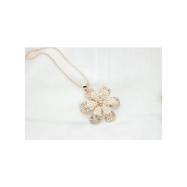 花飾り クリスタル パール ラインストーン ネックレス