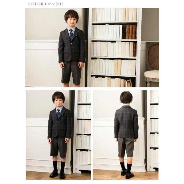 入学式 スーツ 男の子 小学生 卒園式 子供服 ブラックフォーマル 5点セット スーツ 110 120 130cm キッズフォーマル クロスチェック コン|kids-robe|02