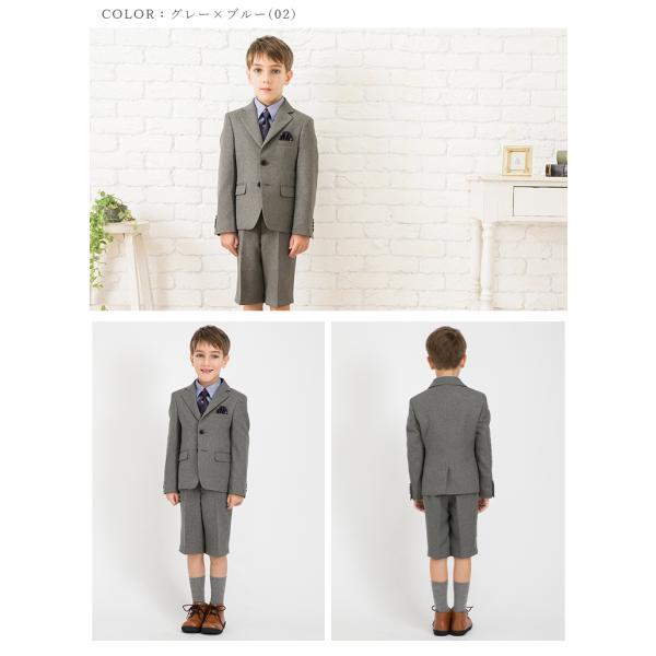 入学式 スーツ 男の子 小学生 卒園式 子供服 ブラックフォーマル 5点セット スーツ 110 120 130cm キッズフォーマル クロスチェック コン|kids-robe|03