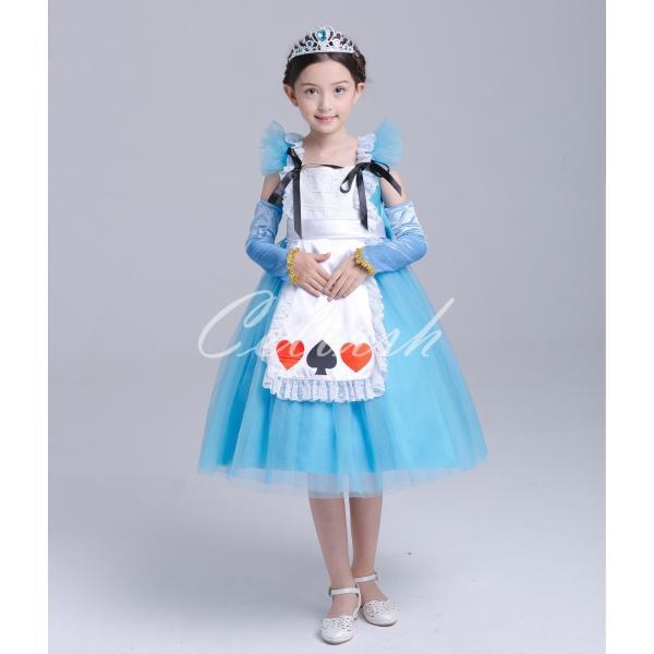 ディズニー ◇ コスプレ ドレス アリス 風 プリンセスドレス 子供 ワンピース   衣装 C-2958S991|kigurumishop|02