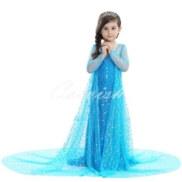 8108f34bd8888 アナと雪の女王 風 アナ雪 エルサ風プリンセスドレス 子供 衣装 ...