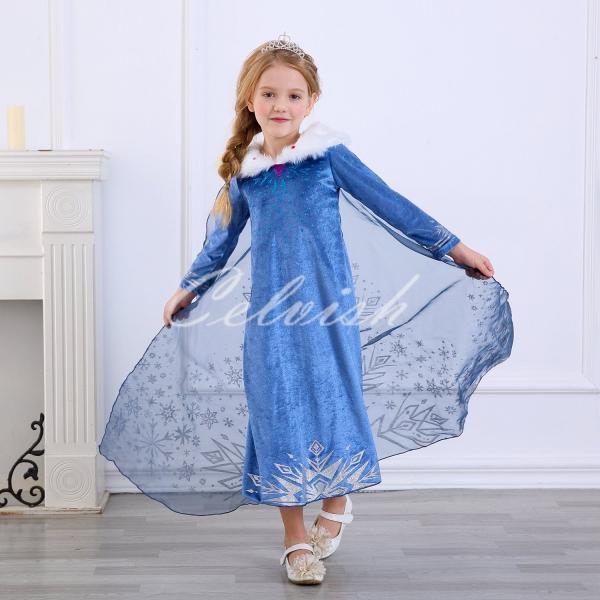 158dc6e7f2e72 ディズニー アナと雪の女王 エルサ 風 プリンセスドレス 子供 衣装 ...