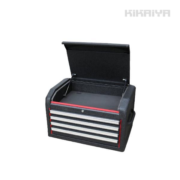 ツールチェスト4段(7段用) リンクル塗装 ブラック×レッド ツートン キャビネット トップチェスト(個人様は営業所止め)KIKAIYA|kikaiya-work-shop
