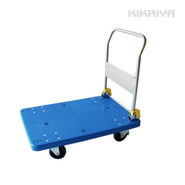 KIKAIYA 軽量樹脂台車 300kg ブレーキ付き 895x590mm 静音台車 折りたたみ台車 プラ台車 運搬車|kikaiya
