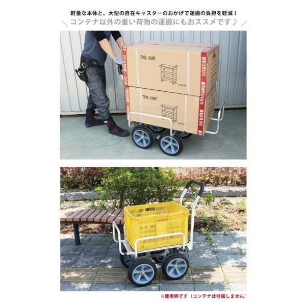 アルミハウスカー コンテナ1個積/2個積兼用 収穫台車 アルミ運搬車 伸縮自在 伸縮式 大型10インチノーパンクタイヤ キカイヤオリジナル KIKAIYA kikaiya 04