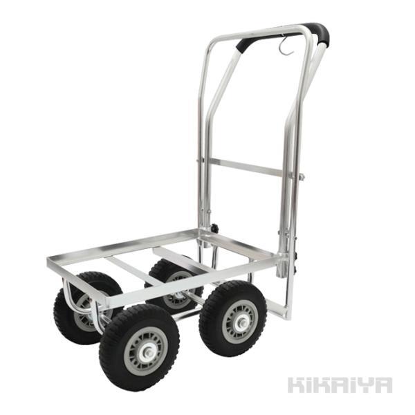 アルミハウスカー ブレーキ付き コンテナ 1個積用 台車 軽量 アルミ運搬車 収穫台車 ノーパンクタイヤ(個人様宛は別途送料)(代引き不可)KIKAIYA